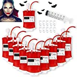 APERIL Blood bag for Drinks Halloween Drinks Container with Syringe Drink Pouches IV Blood Bags Party Favours for Halloween Zombie Party Supplies