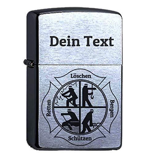 Zippo mit der Wunschgravur Dein Name Feuerwehr, Original Chrome Brushed personalisiert, Symbol löschen Bergen retten graviert