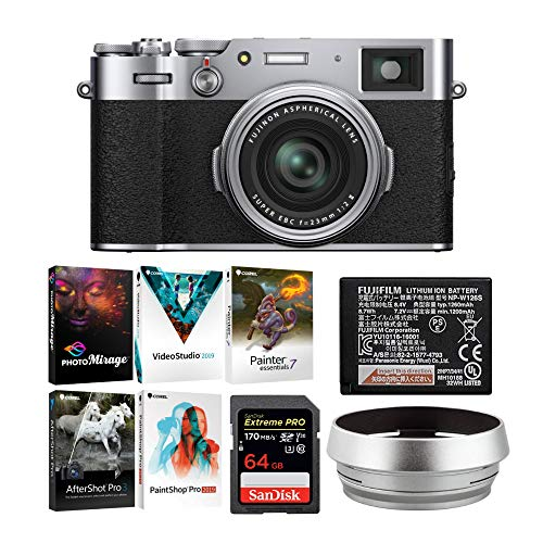 Fujifilm X Series X100V Compact Digital Camera (Silver) with Lens Hood & Adapter + Essential Accessories Bundle (5 Items)
