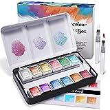 Conjunto de pintura de acuarela metálica, pintura de acuarela brillante sólida RATEL incluye 12 colores metálicos Pigmento sólido + 2 Pincel + 1 tarjeta de color, Pinturas y mezcla bien acuarela