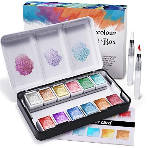 RATEL Metallische Aquarellfarbe Set, Premium Glitzer Aquarell solide Farbe Box einschließlich 12 Metallic Farben Solide Pigment + 2 Malerei Pinsel + 1 Farbkarte, löslich und Mix Well Aquarell Farben