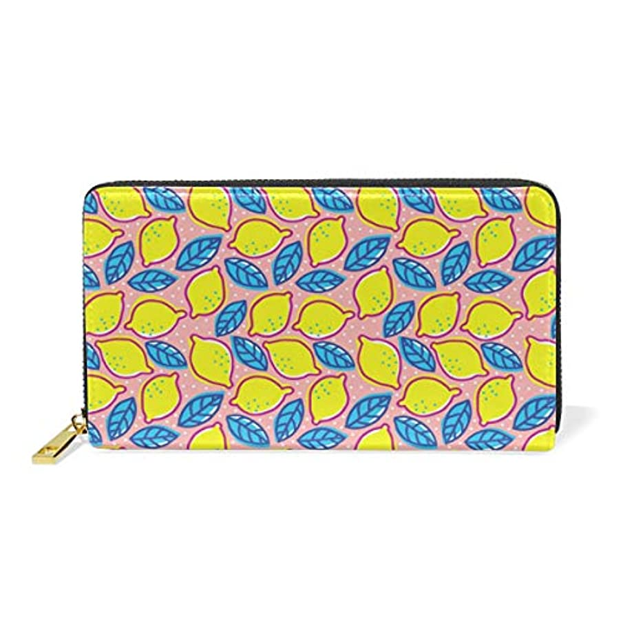 Colorful Floor Tiles Lemon Yellow Super Leather Zipper Wallet For Woman Simple Wallet Durable And Beautiful