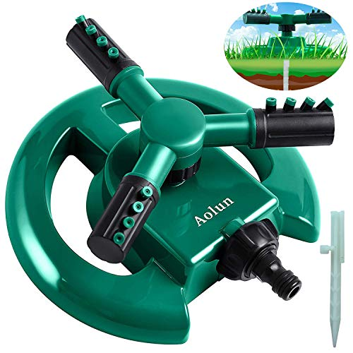 Aolun Garden Sprinkler- Automatic Lawn Water Sprinkler Yard 360 Degree 3- Arm Rotating Sprinkler System