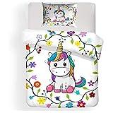 HommyFine Juego de ropa de cama infantil con funda de edredón y funda de almohada, juego de cama para niñas (unicornio B (1 funda nórdica + 1 funda de almohada), 135 x 200 cm)
