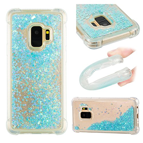 Galaxy S9 Soft Case Glitter, Galaxy S9 Glitter Liquid Cover, 3D Bling Glitter Sparkle Flowing Liquid Quicksand Waterfall Silicone Protective Shockproof Covers Compatible with Samsung Galaxy S9 2018