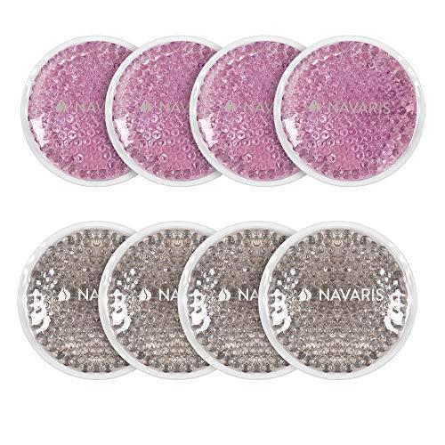 Navaris 8x Compresa de gel frío calor - Set 8 almohadillas para terapia de hielo y lesiones - Reutilizable en microondas y congelador - Rosa y gris