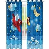 Cortina de ventana con diseño de luna, luna y las estrellas, 42 x 84, para oscurecimiento de habitación, para sala de estar