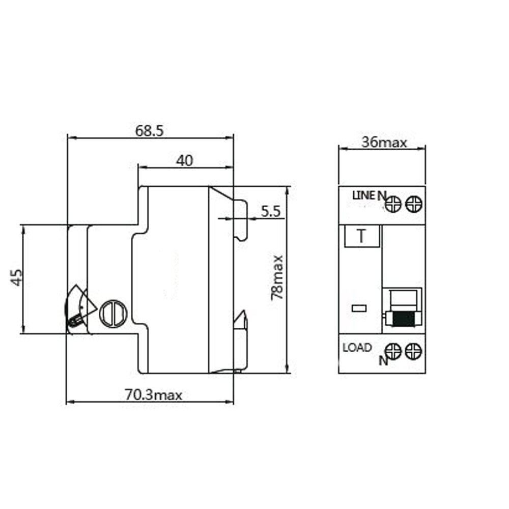 Nader NDB1L-32C-20-120V Circuit Breaker 30mA