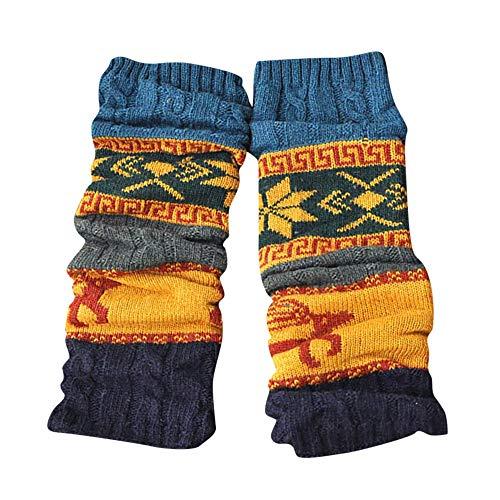 ODJOY-FAN Winter Warm Bein Wärmer Kabel Strickensocken Gestrickt Häkeln Hoch Lange Socken Gamaschen Damen Gedruckt Halterlose Strümpfe (Blau,1 Paar)