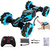 Boxgear Gesture Sensing RC Stunt Car with Off-Road, Four-Wheel Drive, Sports Mode, 40 Min Standby Suitable for Any Terrain, 2.4G Gesture Controlled Double-Sided Remote-Control Car Toy for Kids, Blue