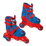Mondo Toys – Marvel Spiderman – 3 en línea Skates – Patines de Doble función Ajustables – Ruedas de PVC – Roller niño/niña – Talla S/M 29/32 – 28631