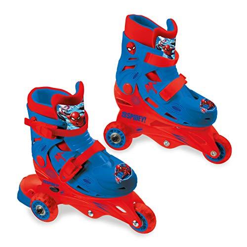 Mondo Toys – Marvel Spiderman – 3 In-Line Skates – verstellbare Doppelfunktion – PVC-Räder – Roller für Jungen / Mädchen – Größe S / Gr. 29/32 – 28631