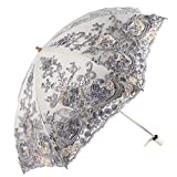 Honeystore Wedding Lace Sun UV Parasol 2 Folding 3D Flower Embroidery Umbrella H7207 Grey