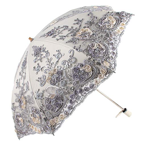 Honeystore Vintage Lace UV Sun Parasol Folding 3D Flower Embroidery Umbrella H1620 Purple
