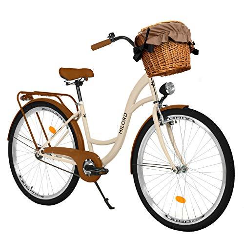 Milord Bikes Bicicletta Comfort Marrone a 1 velocità da 26 Pollici con cestello e Marsupio Posteriore, Bici Olandese, Bici da Donna, City Bike, retrò, Vintage