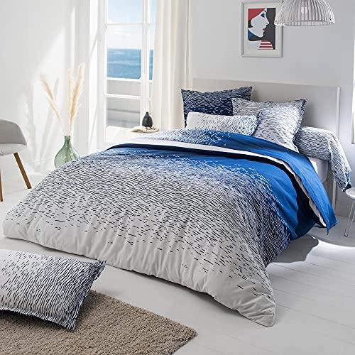 Linnea - Funda de edredón (140 x 200 cm, 100% algodón), color azul