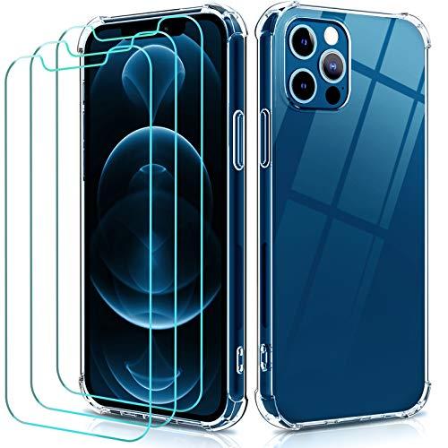 iVoler Funda TPU Compatible con iPhone 12, Compatible con iPhone 6.1 Pulgadas 12 Pro 2020 con 3 Unidades Protector de Pantalla,Transparente