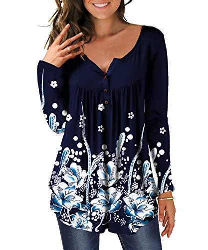 DEMO Tunika Damen Blumen Tops Langarm Henley V Ausschnitt Knopfleiste Plissiert Bluse T Shirt Oberteil (Navy Blau, L)