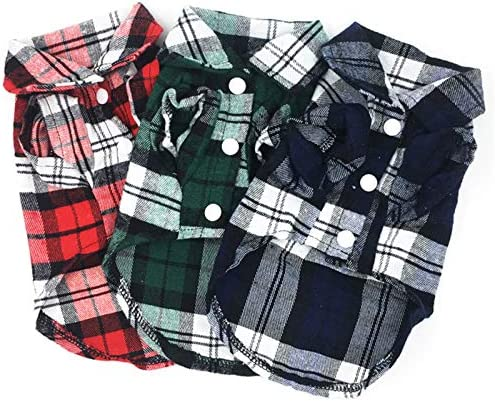 Pack 3colors Pet Basic Plaid Shirt Little Puppy Clothes Small Dog Plaid Polo Shirt Cat T Shirt product image