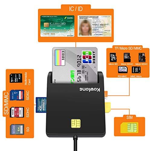 Lecteur de Carte à Puce, USB SD/Micro SD (TF) SIM Adaptateur de...