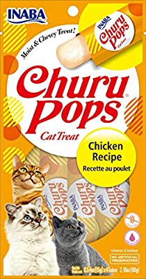 INABA Churu Pops Moist and Chewy Cat Treat Chicken Recipe 4 Tubes