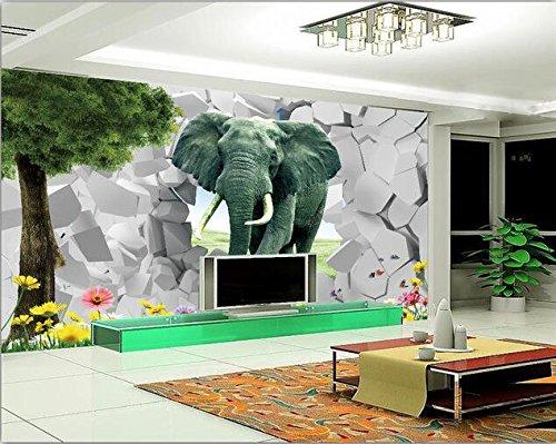 Chan-Mei - Papel pintado 3D para pared, diseño de elefante en 3D ...