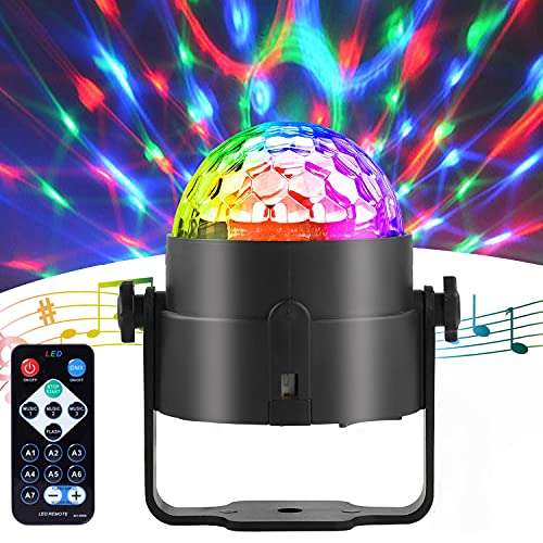 Disco Light, Large Lights Area 7 RGB Disco Party Light with Sound & Remote Control, Portable Strobe Light for Party Holiday, Celebrations, Birthdays, Christmas Weddings, Bars