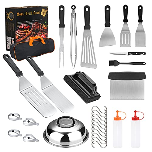 Volt4Men Griddle Accessories, 30PCS Flat Top Grilling Accessories Kit with Spatula, Basting Cover, Scraper, Bottle, Tongs, Egg Rings & Carry Bag, BBQ Accessories Grill for Men Women Outdoor Camping
