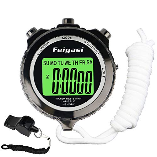 Feiyasi Digital Stopwatch Timer, with Backlight Metal Stop Watch for Basketball, Soccer, Boxing, Shot, Referee,Swim, Workout, Sport, Sports Match, Training, Timing-Including Whistle (Black-1 Laps)
