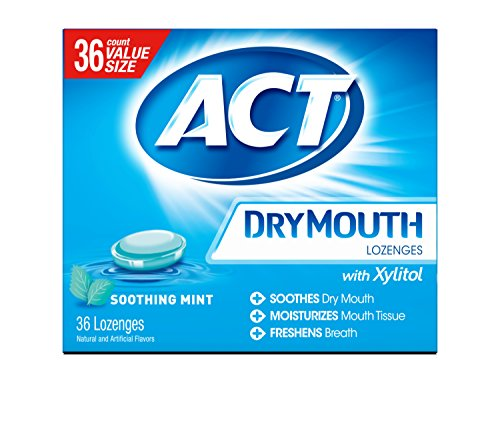 Price comparison product image ACT Dry Mouth Lozenges Soothing Mint 36 Count Soothing Mint Flavored Lozenges with Xylitol Help Moisturize Mouth Tissue to Sooth and Relieve Discomfort from Dry Mouth,  Freshens Breath