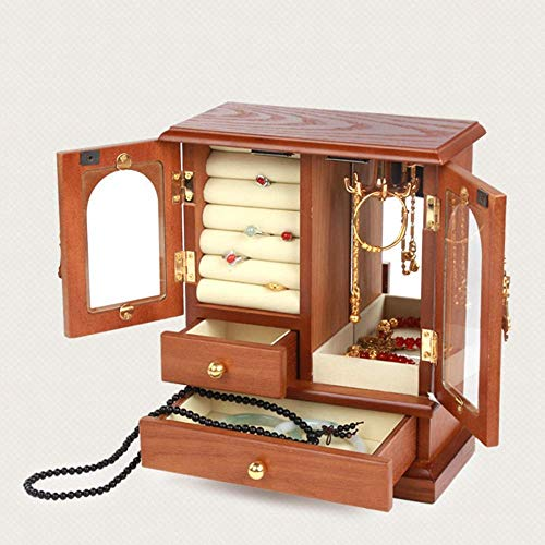 DXX-HR elemento de almacenamiento de madera de Brown retro joyería caja de almacenamiento de los pendientes del collar de la caja cosmética mamá abuela mujer regalo Dos Doble