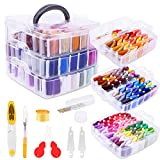 Embroidery Floss Friendship Bracelet String with Organizer, Shynek 199 Pcs Embroidery Kit Include 162 Colors String for Bracelets and 37 Pcs Cross Stitch Threads Supplies Tools for Embroidery and Frie