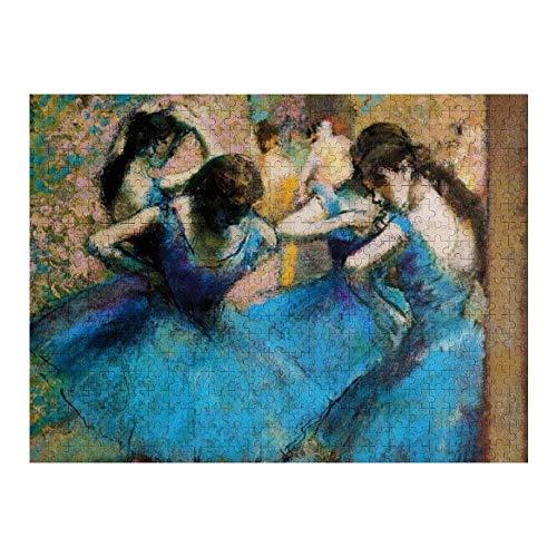 RABEAN Degas Blue Dancers 1000 Piezas de Rompecabezas de Madera ensamblaje de Rompecabezas de descompresión de imágenes para Adultos y niños Juegos para niños Juguetes educativos