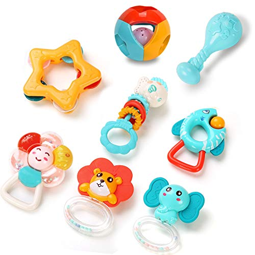 Yzata Baby Rattles Teethers Set Shaker Grab Spin Rattle Toys Early Educational Musical Toy Gifts for 3 6 9 12 Months Newborn Babies Infants Boys Girls 8pcs