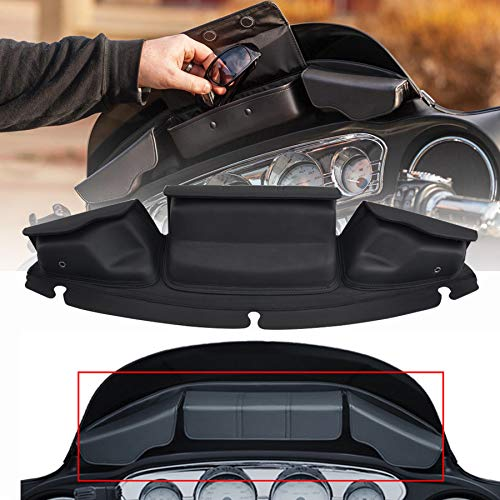CCAUTOVIE Batwing Fairing Storage Pouch Bag with 3-Pockets Saddlebag Windshield Bag for Harley Touring Street Glide FLHX FLHTK FLHTP 14-19