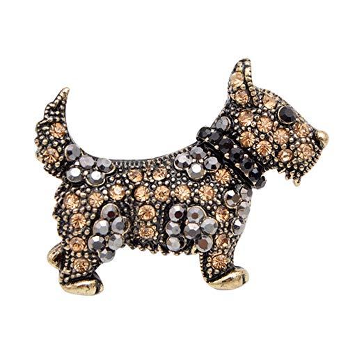 Joven tulipán creativo estilo elegante exquisito perro broche de mujer con diamantes de imitación cristal ropa de mujer para regalo de niños-oro, China