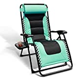 GOLDSUN Oversized Padded Zero Gravity Reclining Chair Adjustable Patio Lounge Chair with Cup Holder for Outdoor Beach Porch,Swimming Pool (Blue)