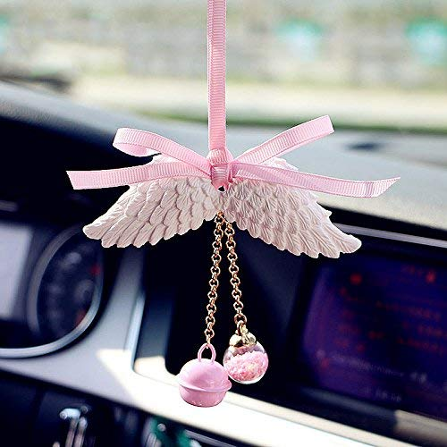 ONEVER Car Rear View Mirror Pendant Angel Wing Hanging Interior Accessory Ornament