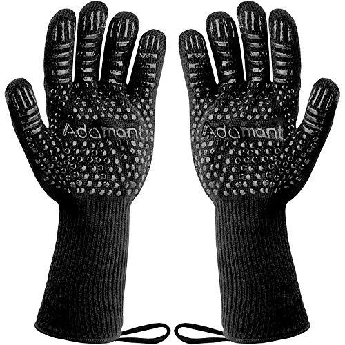 ADAMANT Grillhandschuhe hitzebeständig 800 Grad mit Magnetschlaufen | Grill Handschuhe Herren Universalgröße extra lang schwarz | hitzebeständige Handschuhe | Grillhandschuh BBQ Handschuhe Grill