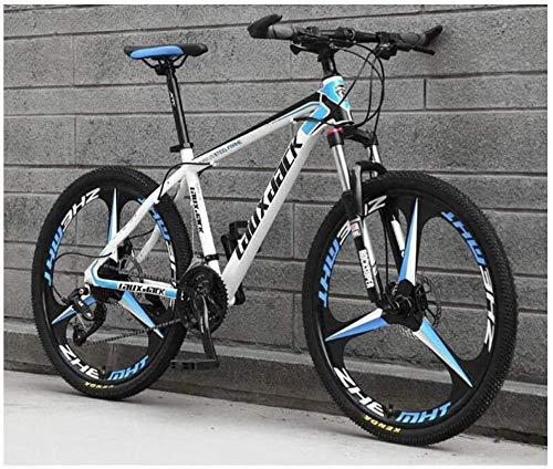giyiohok Mountainbike 26 Zoll Integralrad Unisex-Federung Mountainbike 21-Gang 24-Gang 27-Gang 30-Gang-Doppelscheibenbremse aus Kohlenstoffstahl-24 Geschwindigkeit_Whiteblue