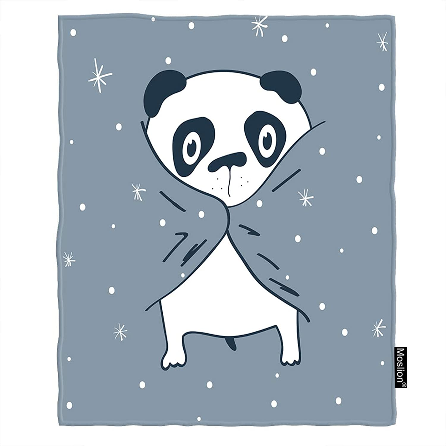 Moslion Panda Blanket Cute Animal Panda in Bed with Winter Snowflake Doodle Polka Dot Throw Blanket Flannel Home Decorative Soft Cozy Blankets 60x80 Inch for Adults Kids Sofa