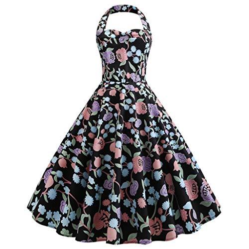 Culater Vestido Vestido De Cóctel con Lunares Vintage Floral Spring Country Rock Vestido De Cóctel Ropa De Mujer Negro M