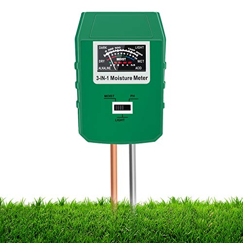 Xddias Misuratore di umidità del Suolo, Kit di Tester del Suolo 3 in 1 con Test di umidità/PH/Luce, igrometro del misuratore del sensore dell'Acqua per Piante da Giardino