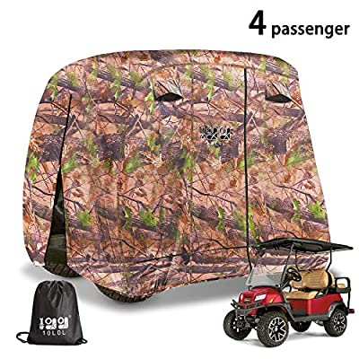 10L0L 4 Passenger Outdoor Golf Cart Cover,400D Waterproof Golf Cart Covers with Extra PVC Coating Sunproof Dustproof fits EZ GO Club Car Yamaha (fits for Most Extended Roof Carts,Up to 112 Inch)