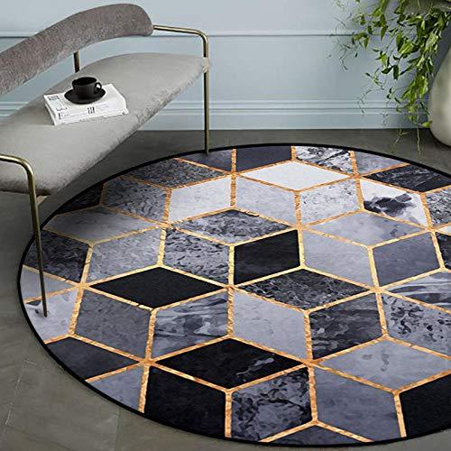 Moderne Tapis Salon Chambre Poil Court Vinyl Rug Lignes Rondes Noires carrées géométriques dorées Insonorisant Déco Tapis Diameter 160CM