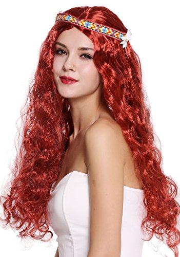 WIG ME UP - 91298-ZA350 Perücke Damen Herren Karneval Halloween Blumenkind Hippie 60er 70er lang rot wellig Mittelscheitel Stirnband Blume