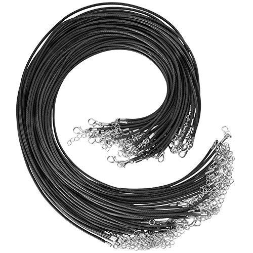 Cizen 40pcs Cordón de Cuero Encerado para Collar, Cordón de Cuero Artificial Utilizado Para Colgantes, Cuentas, Accesorios de Joyería, Joyería DIY, Negro