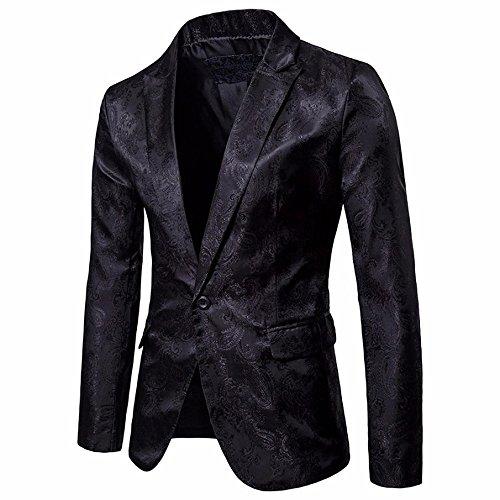 Logobeing Chaqueta de Traje para Hombre, Hombres de Encanto Casual Un Botón Apto Traje Blazer Chaqueta de Abrigo Tops (XL, Negro)
