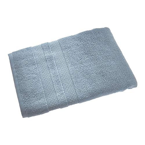Price comparison product image iDesign Bath Towel,  Large Embellished Guest Towel Made of 100 Percent Cotton,  Soft Bath Sheet for Shower,  Bath and Sauna,  Grey Blue