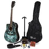 Lindo Fractal Guitarra Acústica para Dibujos Izquierdos y Completa Paquete de Accesorios (Bolsa de Gig, soporte, cuerdas, correa, 10 púas, DVD, sintonizador de clip)